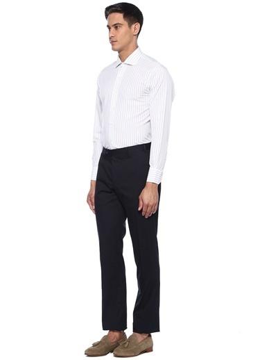 Brooks Brothers 101424539 Kesik Yaka Uzun Kol Çizgi Desenli Erkek Gömlek Beyaz